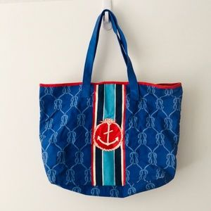 Nautical Blue & Red Lined Waxed Beach Tote Bag